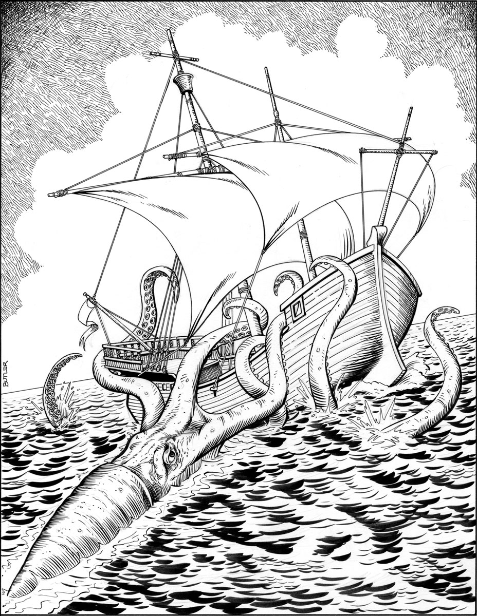 Giant squid attack game module interior brush and ink 1987 for Giant squid coloring page
