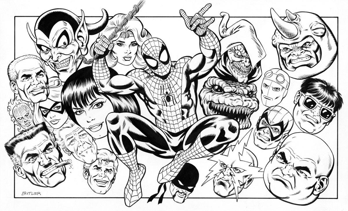 Line Art Marvel : Spider man character montage tsr inc brush and ink