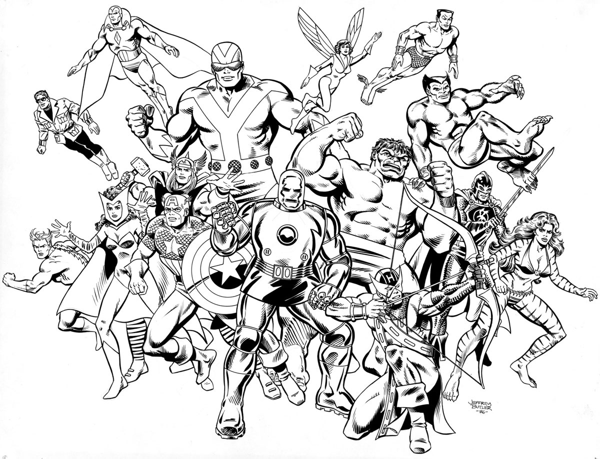Line Art Marvel : Avengers coast to tsr inc brush and ink