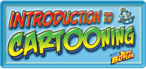 Class Banner: Introduction to Cartooning with Jeff Butler has grinning robot head
