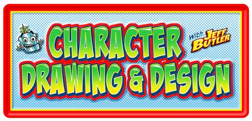 Class banner: Character Drawing and Design with Jeff Butler & grinning robot