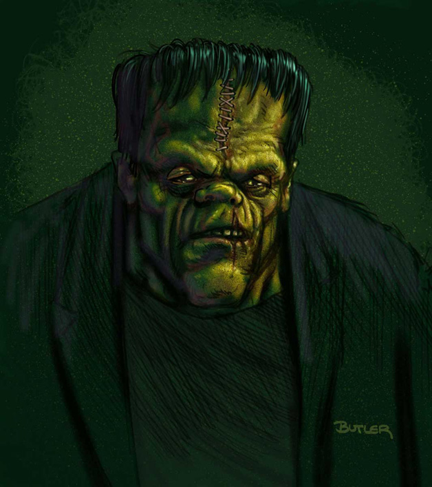Dark horrific version of Frankenstien a la Dick Briefer