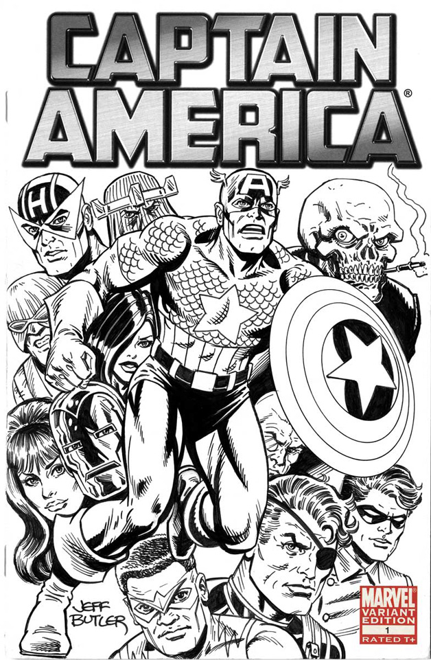 Captain America Blank Cover Pen & Ink 2014