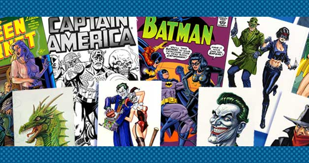 Collage of comissions - Captain America, Batman, Joker, and more