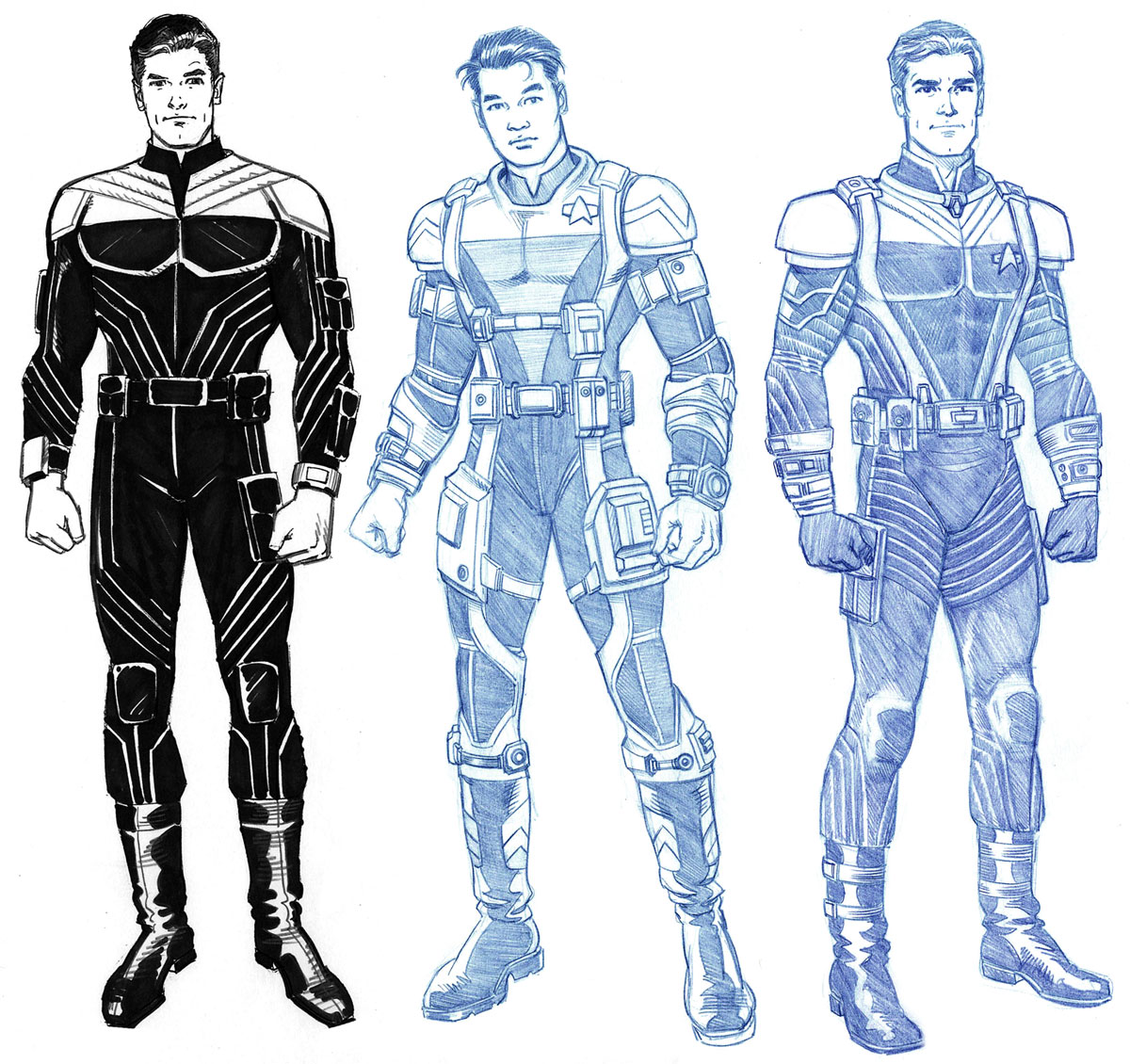Elite Force Suits Costume Design Pencil And Marker 2000