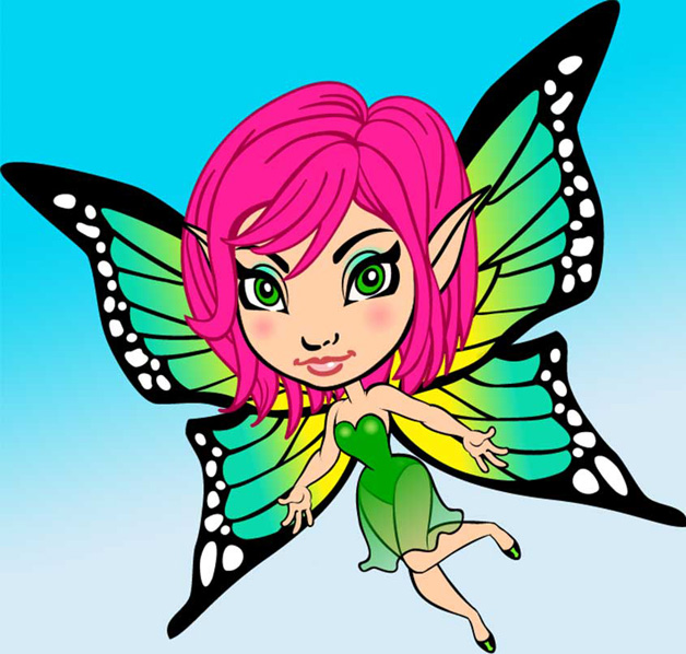 Fairie with pink hair and gold wings, big eyes