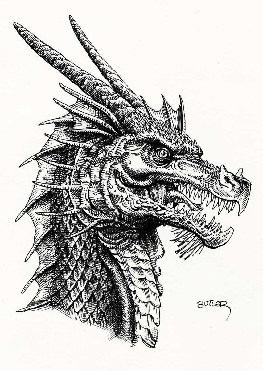 Dragon – Convention Sketch - Pen & Ink 2017