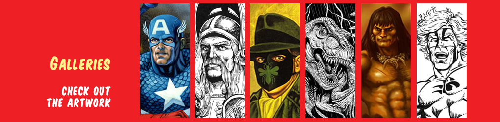 Jeff Butler portraits representing various galleries like Captain America, Green Hornet, Monster drawings
