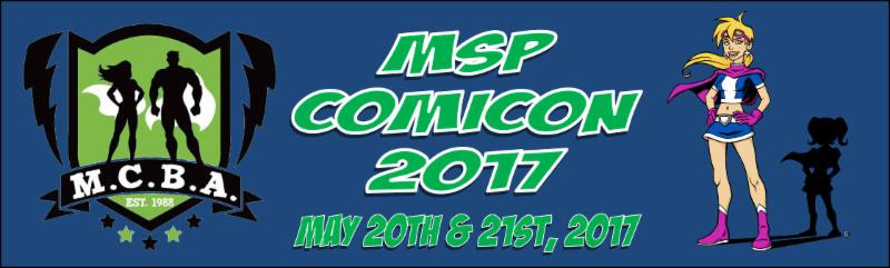 MCBA MSP logo - Midwest comic book association - green shield with muscle bound man and woman