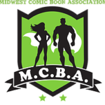 MCBA logo - Midwest comic book association - green shield with muscle bound man and woman