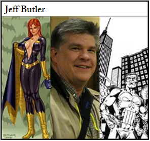 Jeff Butler photo centered between color and black and white art - featured guest artist