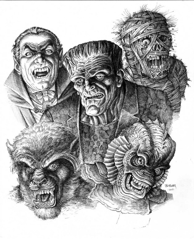 Frankenstein. mummy and other classic friends - sketch