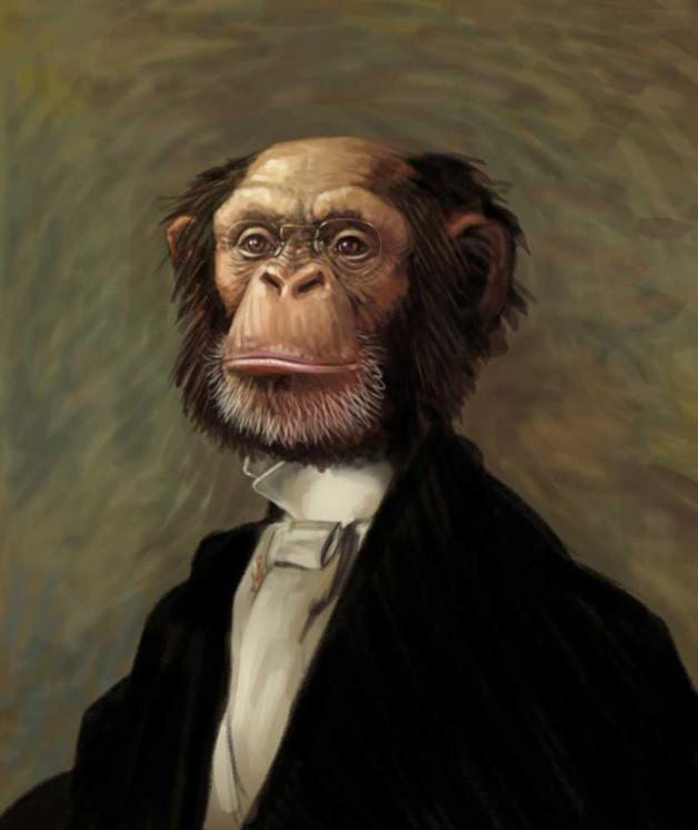 Professor Primatus, the ape a la Thomas Eakins