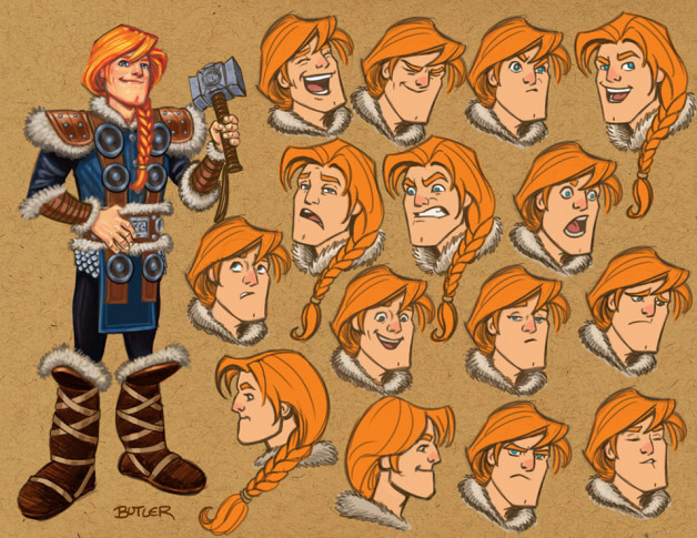 Cartoon drawing mostly facial expressions of Thor as a teenager