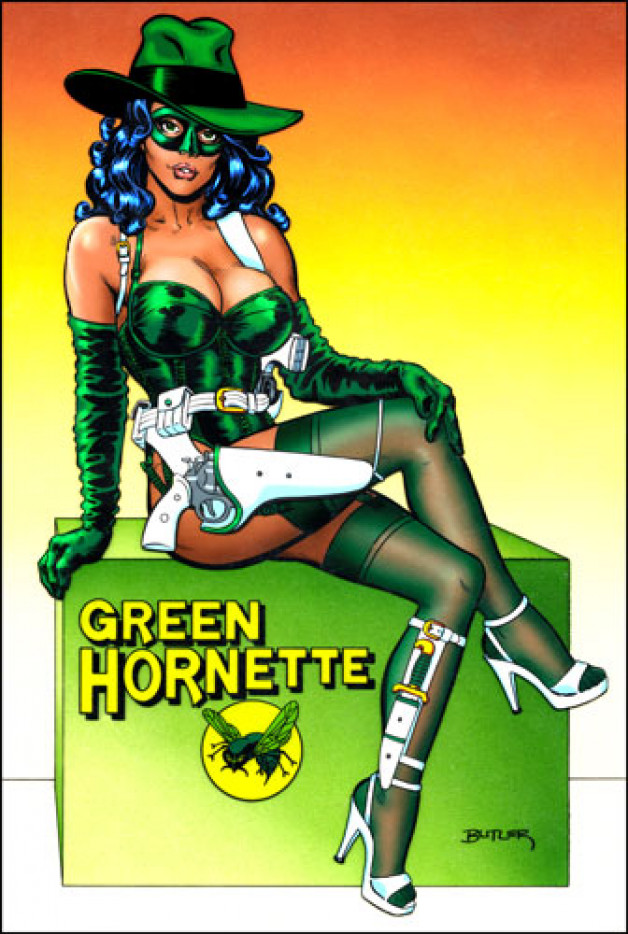 The Green Hornette! Personal Collection Acrylic and cell vinyl on  board and acetate 1988