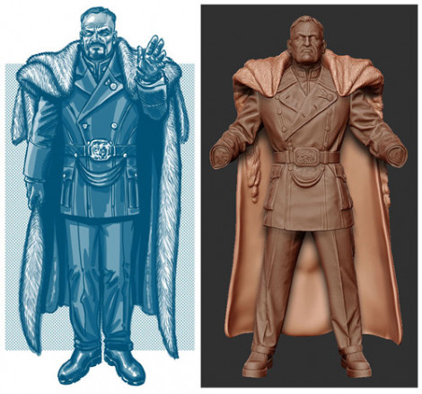 Dictator Video Game Character Photoshop and ZBrush 2009