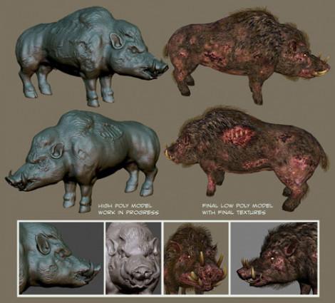 Devil Boar Creature Design Photoshop and ZBrush 2010