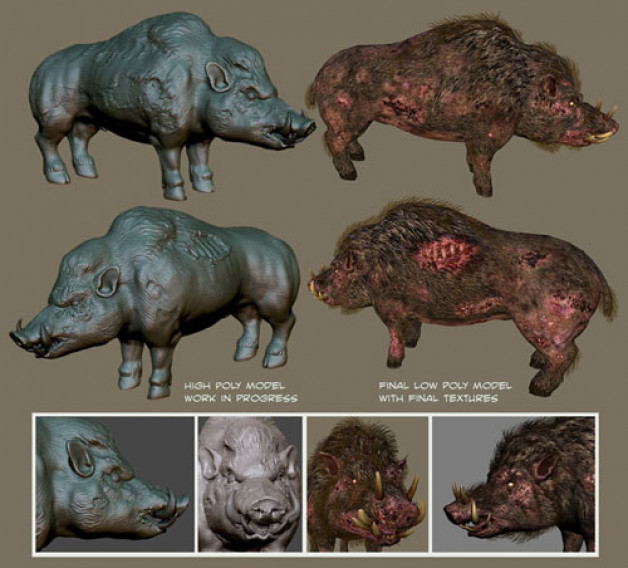 Devil Boar Creature Design Photoshop and ZBrush 2010