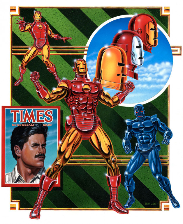 Iron Man Gamer's Handbook of the Marvel Universe Acrylic on board 1988