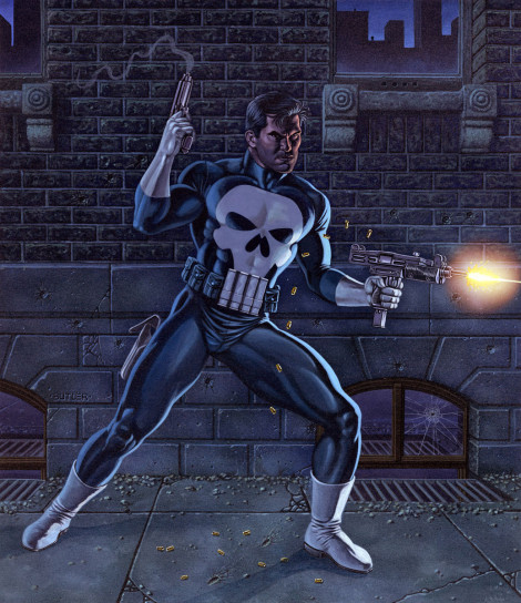 The Punisher The Gamer's Handbook of the Marvel Universe Acrylic on board 1988