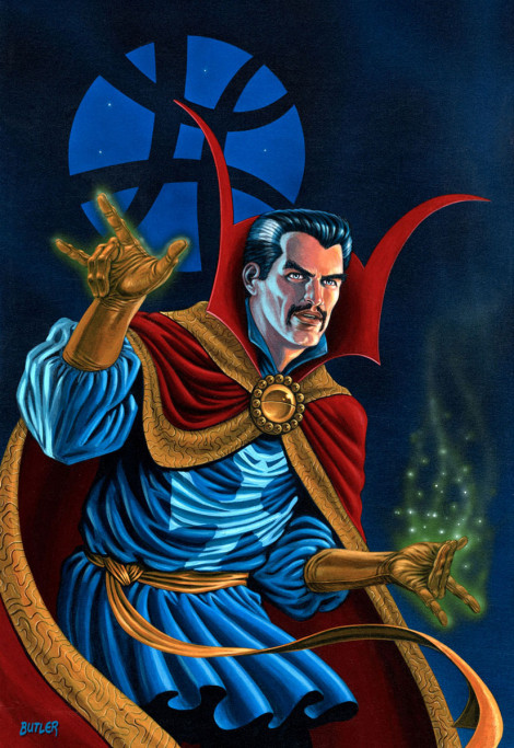 Doctor Strange Through Six Dimensions Acrylic on board 1987
