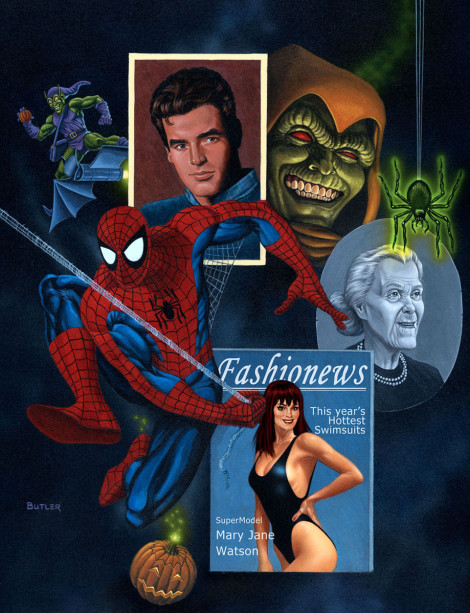 Spider-Man The Gamer's Handbook of the Marvel Universe 1990 Update Acrylic on Masonite 1990