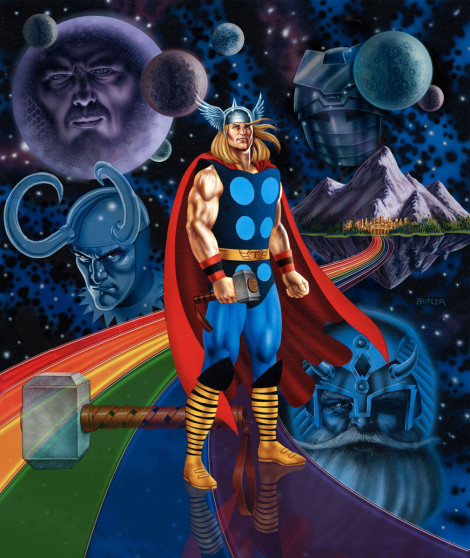 The Mighty Thor The Gamer's Handbook of the Marvel Universe 1991 Update Airbrush on board 2010