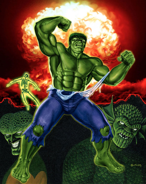 The Incredible Hulk The Gamer's Handbook of the Marvel Universe 1989 Update Acrylic on board 1989