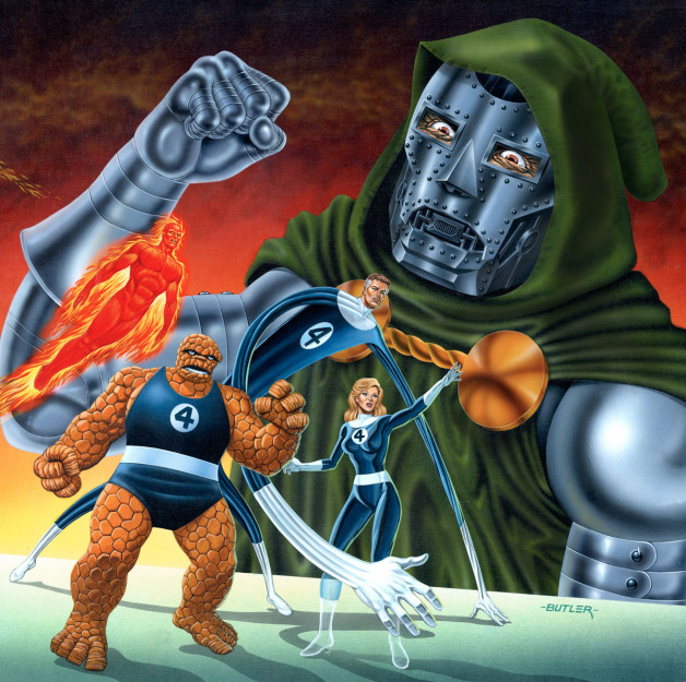 Fantastic Four vs. Dr. Doom The Doomsday Device Acrylic on Board 1986