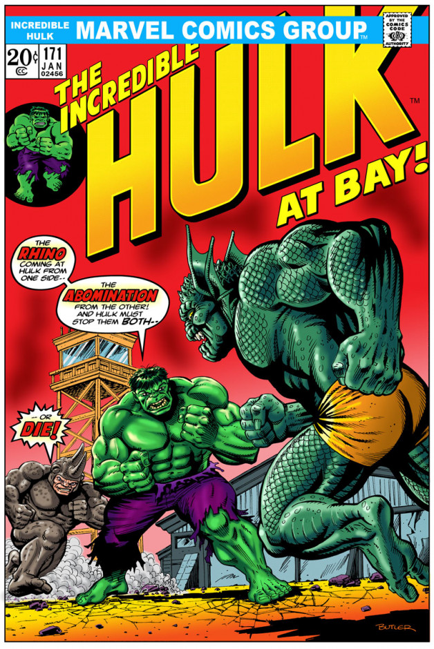 Hulk # 171  Cover Recreation Pen, Ink and Computer Colors 2009