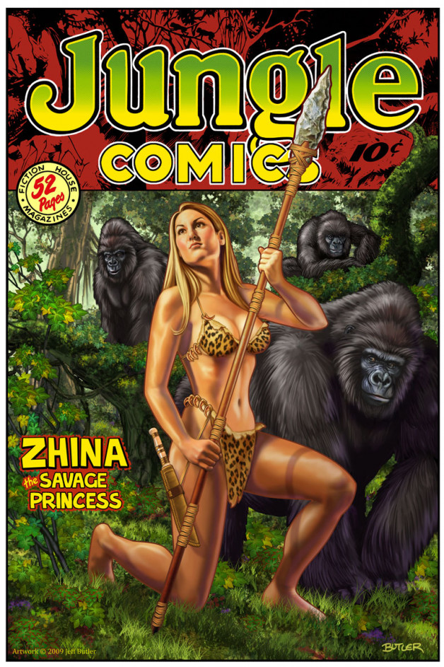 "Jungle Comics: ""Zhina""  Imaginary Cover Digital Painting 2009"