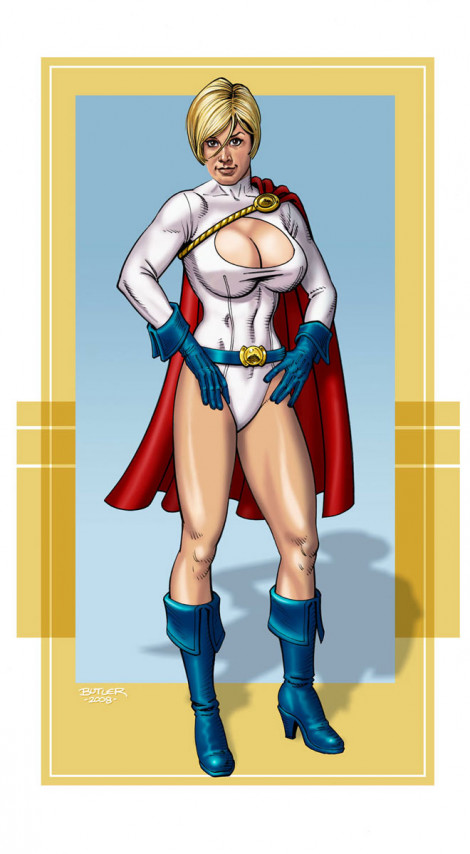 Cherise as Power Girl Commission Brush, Ink and Photoshop Colors 2008