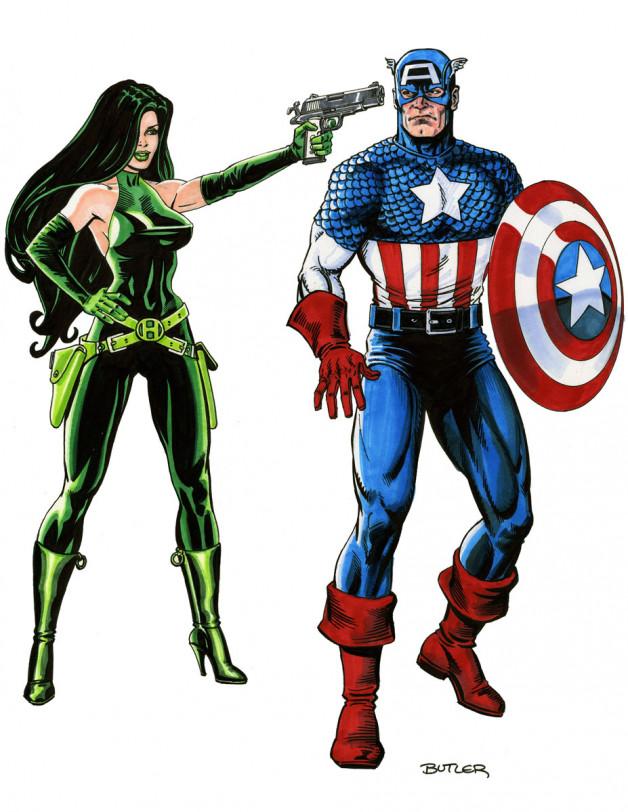 Captain America  & Madame Hydra Marker Sketch 2007