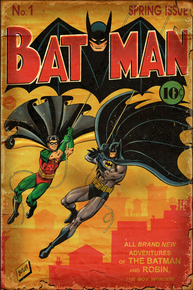 """Batman #1 """"Vintage"""" Cover Recreation  Brush, Ink and Photoshop Colors 2007"""