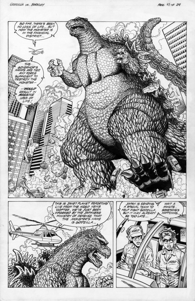 Godzilla vs. Barkley Dark Horse Comics Pencils 1993