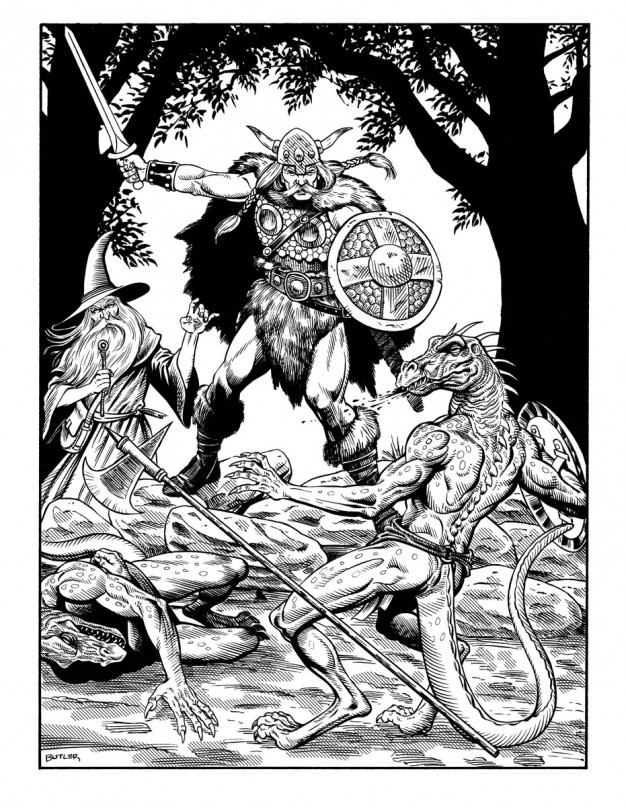 Duel with Draconians Game Module Interior Brush and Ink 1987