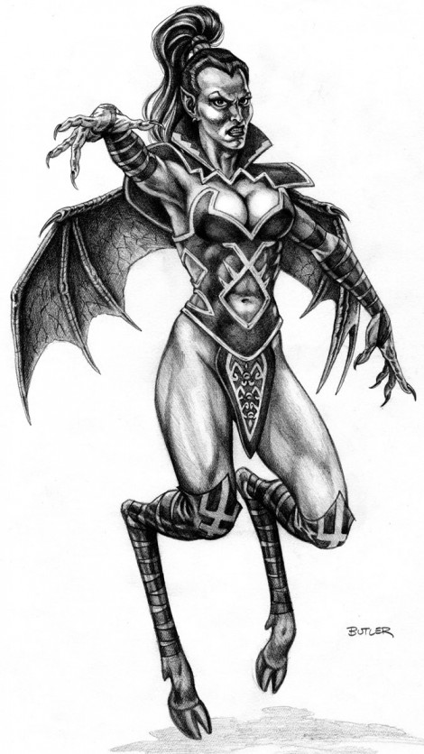 Demoness Concept Drawing Portal of Praevus Pencil Drawing 1997