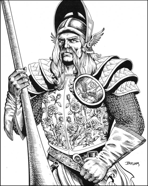 Lord Gunthar in Rose Armor Game Module Interior Brush and Ink 1988