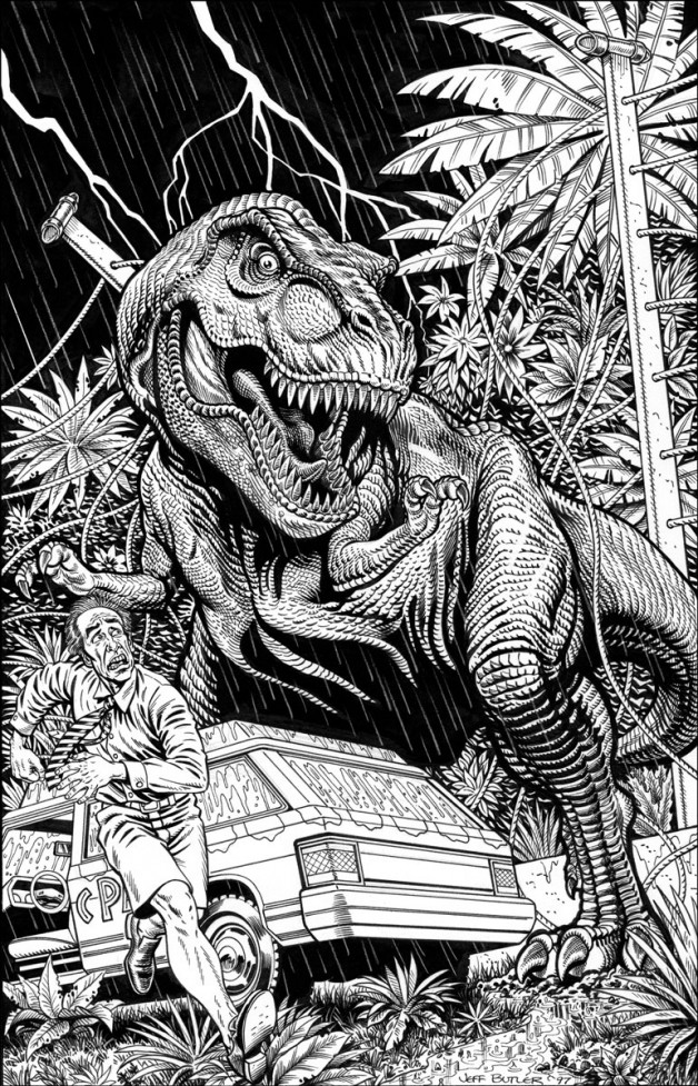 Return to Jurassic Park Topps Comics – Unpublished Brush and Ink 1997