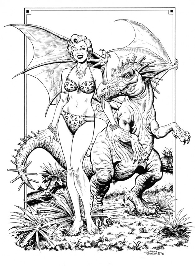 Two Extinct Fantasies Private Commission Brush and Ink 1991
