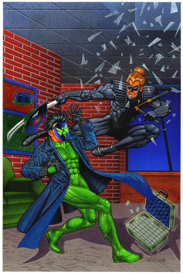 Green Hornet: Dark Tomorrow #2 NOW Comics Acrylic and airbrush on board 1993