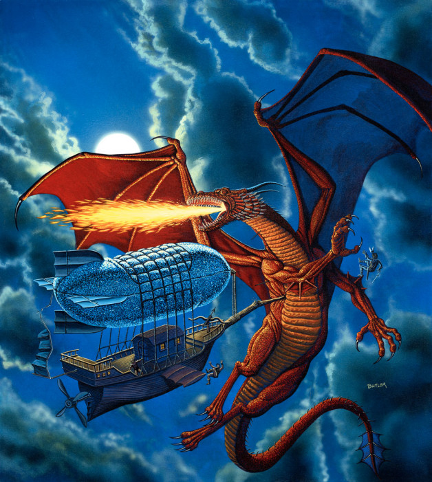 Flying Ship vs. Red Dragon TSR, Inc.  Acrylic on board 1989