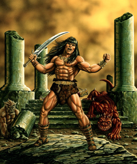 Conan RPG Game Box Art TSR, Inc. Acrylic on board 1985