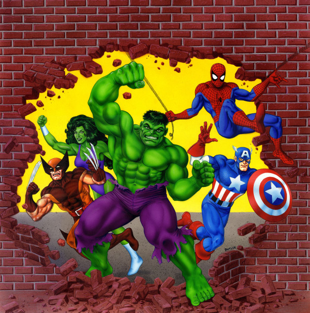 Marvel Superheroes RPG Revised Edition Box Art Airbrush and Colored Pencil 1990