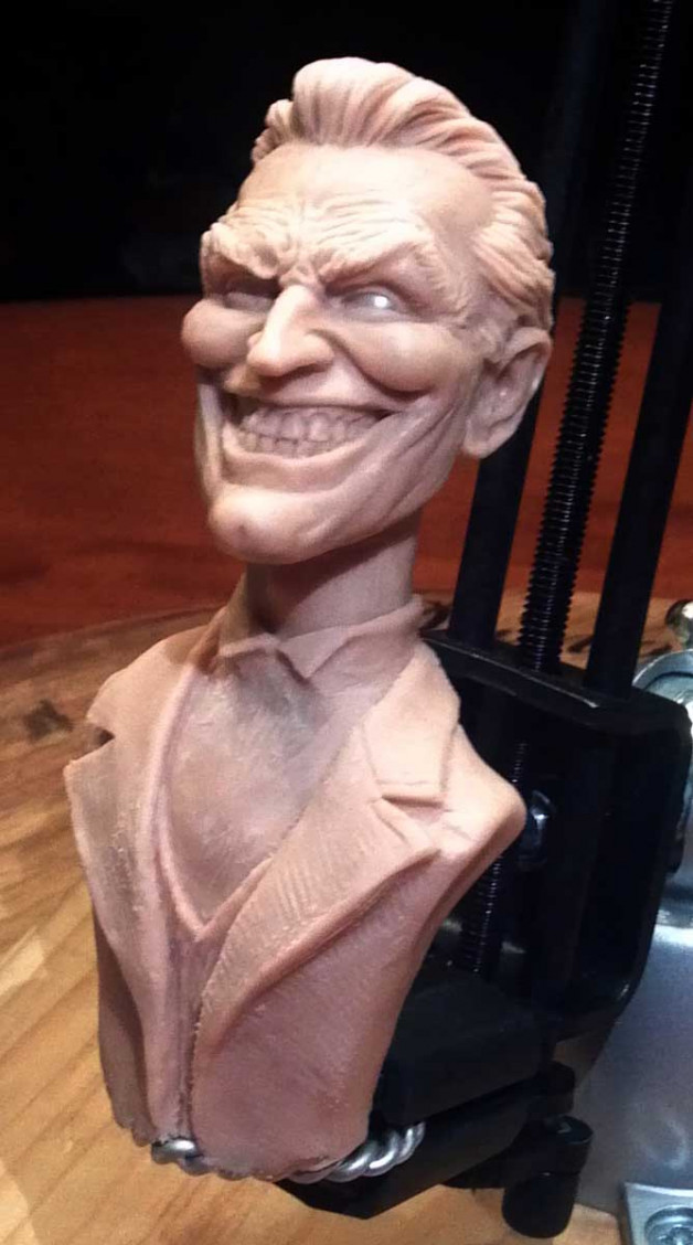 Joker sculpture (in progress) with evil smile